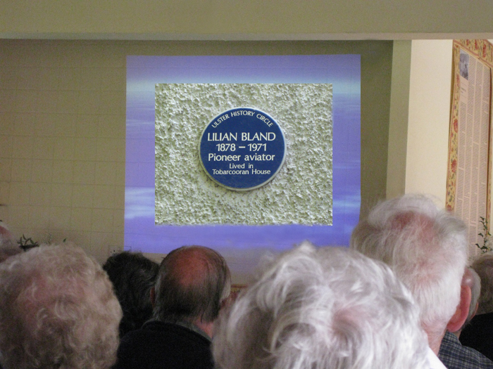 Ulster History Circle  Blue Plaque on the wall of Tobarcooran House,  the family home at Carnmoney.