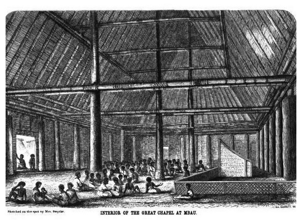 Interior of the great Chapel at Mbau Sketched by Mrs Smythe