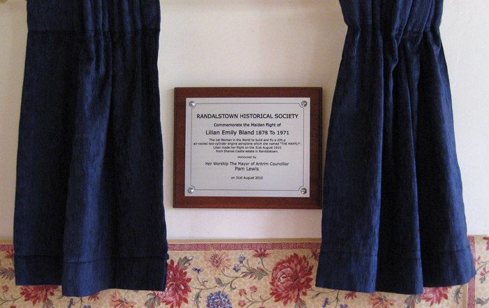 Randalstown Historical Society plaque31st August 2010
