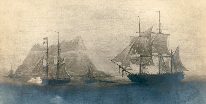 'HMS Espoir' towing the captured Genoese pirate ship 'Liguria' into Gibraltar
