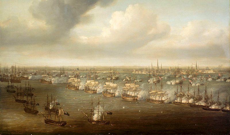 Battle of Copenhagen   2nd April 1801Bomb ships using mortars are on the leftNicholas Pocock  (1740-1821)