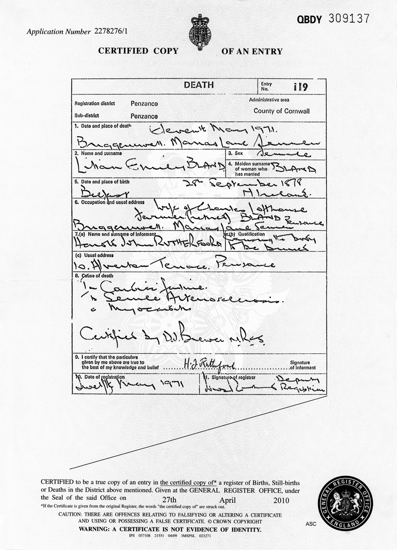 Lilian Emily BlandDeath Certificate (Myra Gleeson collection)