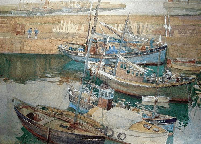 Newlyn HarbourWatercolourSydney Josephine Bland