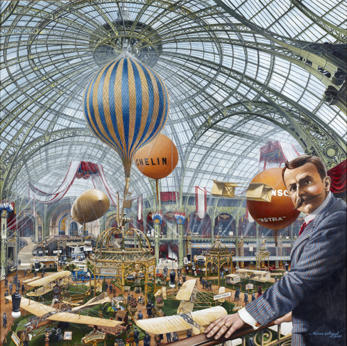 Paris Air Show 1909 copyright 2015 Norman Siegel (aviation artist), Norwark, USA used by permission
